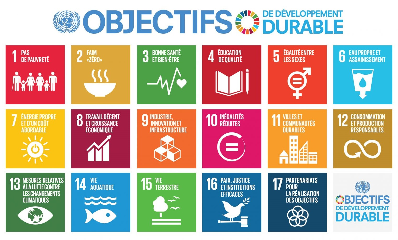 17 ODD publiés par l'ONU