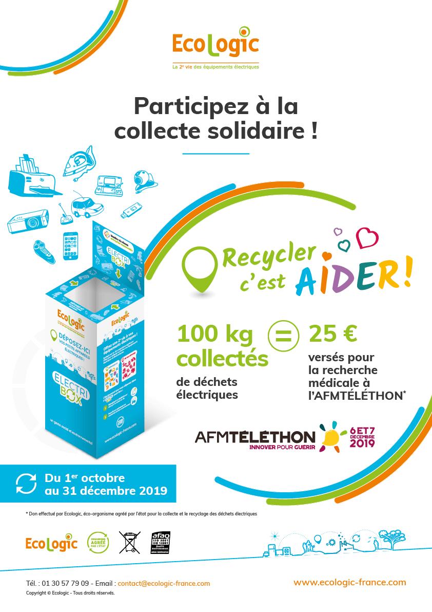 Ecologic Recycler c'est aider Collecte solidaire pour le téléthon 25 euros tous les 100 kg