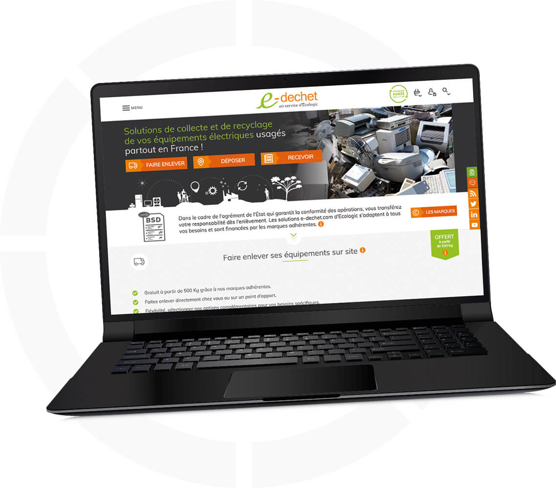 Copie écran page accueil e-dechet.com pour le recyclage des DEEE des entreprises